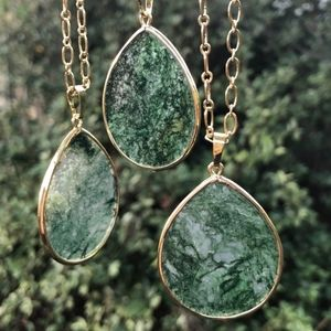 Jewelry - Boho Moss Agate Slice Teardrop Pendant Necklace